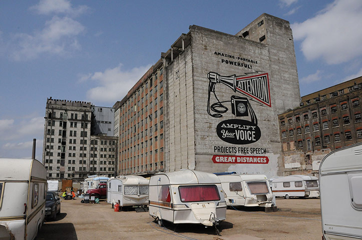 Shepard Fairey mural at the London Pleasure Gardens