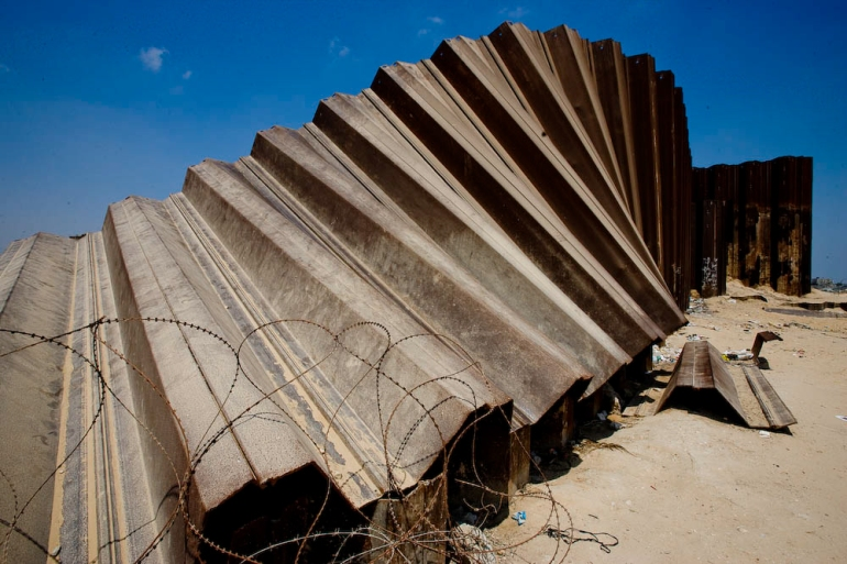 The wall seperating Gaza from Egypt, destroyed by Hamas August 12, 2008 in Rafah, Southern Gaza Strip