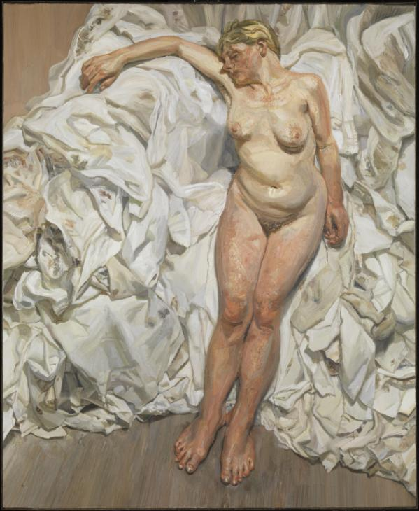 Standing by the Rags 1988-9 by Lucian Freud 1922-2011